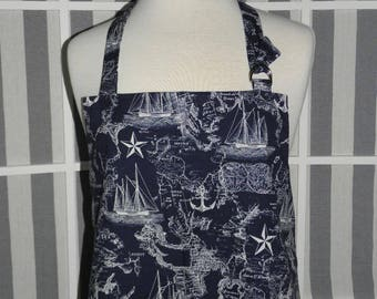 Nautical Map Chef Style Kitchen Apron - FREE or PRIORITY Shipping