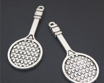10pcs Antique Silver Tennis Racket Charms Pendant A2348