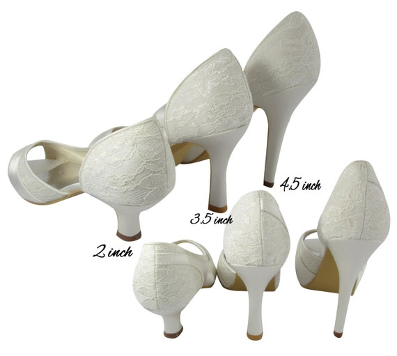 inch White Bridal Heels Ivory 4 in Satin 5 heel with Rhinestone Bling inch Lace inch 2 3 height with Mrs in 5 personalization and IxTdwIq