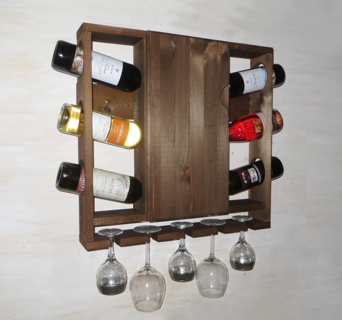 Wijnrek houten wijnrek met deur keuken plank rustieke - Botelleros de pared ...