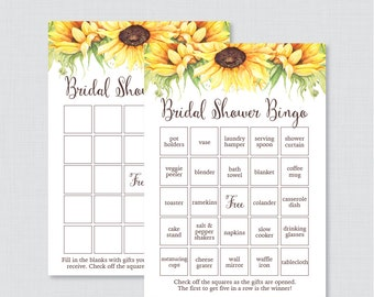 Sunflower Bridal Shower Bingo Printable - 60 Unique Pre-filled Bingo Cards AND Blank Cards - Yellow Sunflower Bridal Shower Bingo 0016-A
