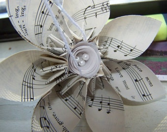 2 Vintage Sheet Music Origami Flowers With Sheet Music Rolled Stem