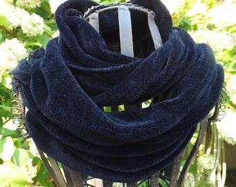 Midnight Blue Handwoven Chenille Scarf for Men or Women
