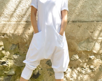 White Harem jersey Jumpsuit/Women casual jumpsuit/Loose jumpsuit/White romper/Oversize White jumpsuit/Plus size jumpsuit/Two pockets/G1481