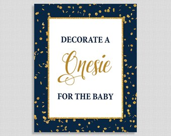 Decorate a Onesie for the Baby Shower Sign, Navy & Gold Glitter Shower Sign, Baby Boy Shower Sign,  INSTANT PRINTABLE