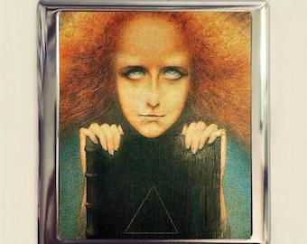 Mysteriosa Delville Cigarette Case Business Card ID Holder Wallet Strange Occult Fine Art Painting Esoteric