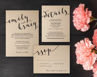 Romantic Wedding Invitations, Invitation Suite, Printable, Digital Files, Invitation, RSVP, Reply Card, Details Card, Info Card, Calligraphy