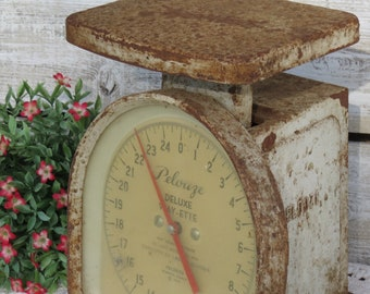 Vintage 1950's Kitchen Scale Rusty Metal - Farmhouse Scale - Industrial Metal Scale Pelouze Deluxe Wayette