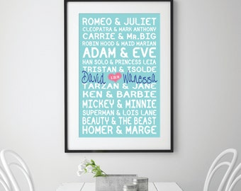 Famous Couples Custom design - Personalised Famous Couples Print - Couples names - Wedding engagement gift - Modern Room Décor