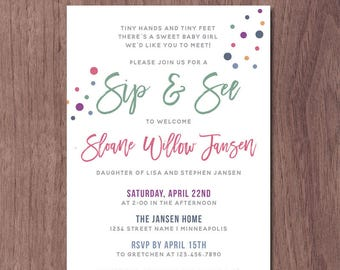 Digital floral meet and greet invitation purple plum gold modern sip and see invitation girl boy baby shower meet and greet invitation rainbow color dots baby sprinkle shower invite pink blue green m4hsunfo