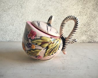 Hull Pottery Sugar Bowl Blossom Flite 1955 Basket Design Midcentury Pottery,