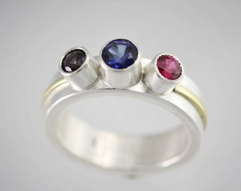 Mother's Ring (3 Stone Wrap Ring, Lrg. 14K) made to order