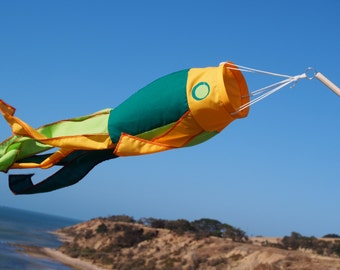 Fish windsock on stick - green and yellow