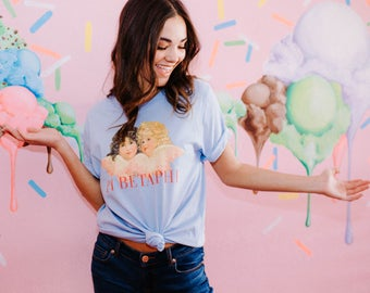 Pi Phi Vintage Angels Tee / pi beta phi shirt / greek gifts apparel / greek sorority t shirts