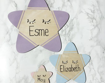 Personalised wooden sleepy eyes star name plaque