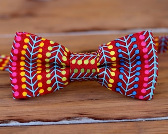 Mens red party bow tie - preppy men's bow tie - multi red striped bow tie - bright bow ties - funky red bow tie - modern red bowtie - unique