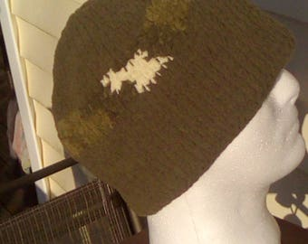 Crochet hat, olive with multi olive stripe
