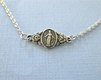 Sterling Silver Miraculous Medal Bracelet - Virgin Mary Bracelet - Religious Charm Bracelet - Religous Jewelry - Catholic Gifts