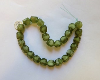 vintage german glass beads sage green
