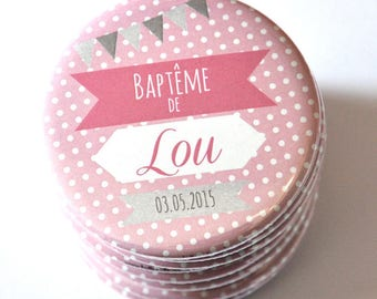 1 magnet christening name and date custom / pink polka dots
