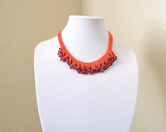 Purple and orange crochet statement necklace