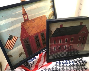 Choice Warren Kimble folk art rustic Americana framed prints of schoolhouse or brick building with flags in rural Vermont navy blue frames