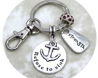 Refuse To Sink Charm Keychain Birthstone Crystal Charm Purse Clip On Key Ring Personalize Strength Strong Charm Gift For #K1117