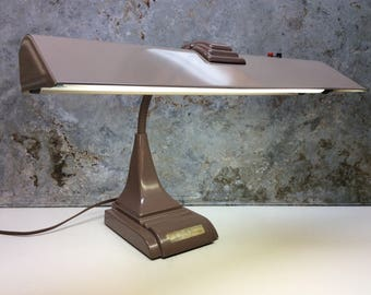 Vintage Heavy Metal Art Industrial Fluorescent Table Desk Lamp