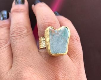 Gemstone Ring , Turquoise Ring, Gold Filled Ring, Adjustable ring