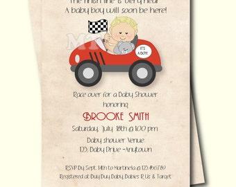 Race Car Baby Shower Invitation- Retro Style Boy Baby Shower Invite- Car Theme Printable Babyshower Invitation-