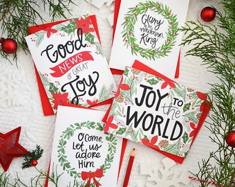 Christmas cards, Holiday Cards, Set of 4, Glory to the Newborn King, Good News of Great Joy, Joy to the World, O Come Let Us Adore Him