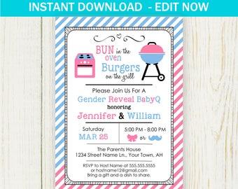 BBQ Gender Reveal Invitation, Printable Edit NOW baby shower Invitation, gender reveal printable
