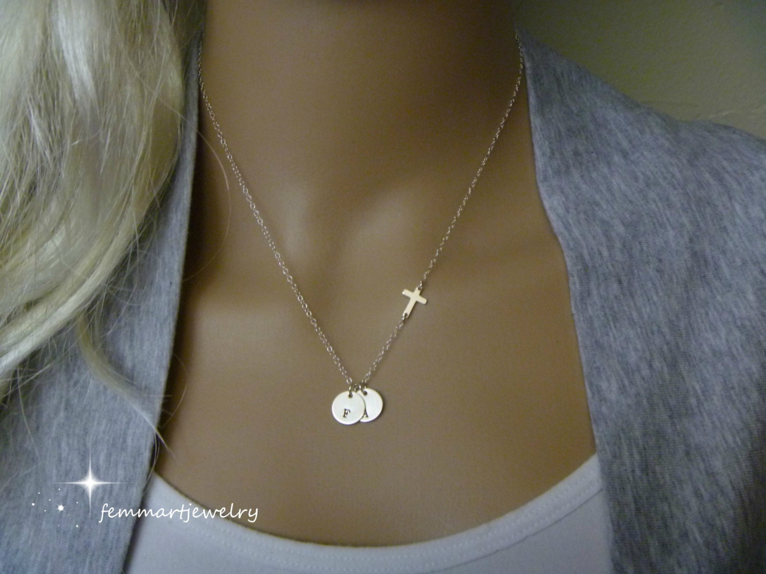 Sideways cross necklace one two or more initial necklace zoom mozeypictures Images