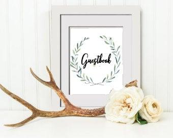 INSTANT DOWNLOAD PRINTABLE Wedding Guestbook Sign, Wedding Sign, Floral Bridal Shower Mimosa Bar Sign, Bridal Shower Sign