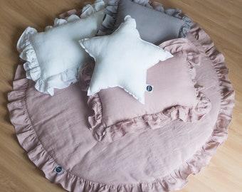 Soft Dusty Pink Play Mat / Linen Baby Play Mat/ Round Play Mat / Play Mat with Frill / Boho Nursery Decor / Boho Play Mat / Baby Rug