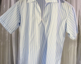 RESERVED for Allen-Vintage 90's men's short sleeve blue and white stripe cotton shirt size L