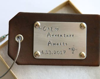 Adventure Awaits Personalized Wedding Luggage Tag Leather Hand Stamped Aluminum Metal Disc with Wire Ring, Travel Gift, Wedding Favors, Gift