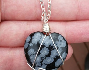 Heart Shaped Snowflake Obsidian Necklace /\ Sterling Silver