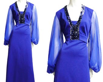 Plus Size Maxi dress vintage sequin purple gown 70s robe XL prom party So Gucci Style