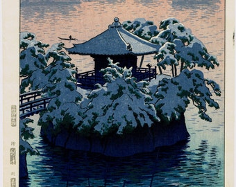 "Japanese Ukiyoe, Shin-hanga, Woodblock print, antique, Kasamatsu Shiro, ""Snow at Matsushima"""