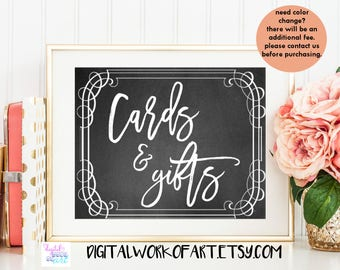 Cards and Gifts Sign, Wedding Sign Printable, DIY Rustic Chalkboard Sign, Wedding Sign, Instant Download, #CHMS-04