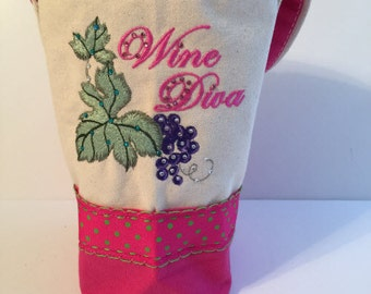 Wine Tote, Canvas Wine Tote, Wine Bag, Canvas Wine Bag, Embroidered Wine Bag, Monogrammed Wine Bag, Wine Carrier