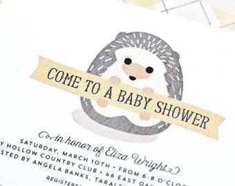 Woodland Baby Shower Invitation, Gender Neutral Hedgehog Baby Shower Invite // BABY HEDGEHOG