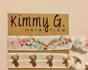 Boho Deer hair tie set//elastic hair ties, hair tie set, boho hair ties, hair accessories, party favor, ponytail holder, hair tie bracelet