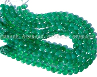 Natural Green Onyx Coin Smooth beads, Quality AA, 8 to 9 mm, 36 cm, 41 pieces, GR-154/1, Semiprecious Gemstone Beads