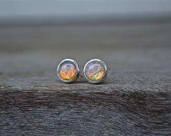 Opal Earrrings, Opal, Fire Opal Earrings, Vintage Glass Opal, Opal Jewlery, Fire Opal, Sterling Silver, Vintage, MeSheDesigns