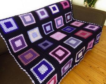 Crochet Blanket Throw Blanket Throw For Sofa Throw For Couch Purple Throw Blanket Purple Blanket FREE SHIPPING