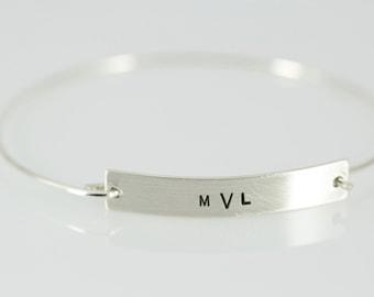 Monogram Bar Bracelet, Sterling Silver, Monogram Jewelry, Name Jewelry, Name Bracelet, Initial Jewelry, Initial Bracelet