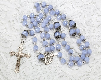 Blue Lace Agate Rosary - Handmade, Heirloom 5-Decade Rosaries Gift for Catholic Women - Sterling Silver, Madonna Mother Center, Crucifix