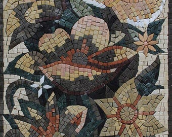 "Chic Vertical Flower Vase Wall Art 17""x48"" Marble Mosaic FL935"